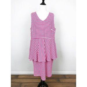 Eloquii Sleeveless Peplum Stretch Knit Dress